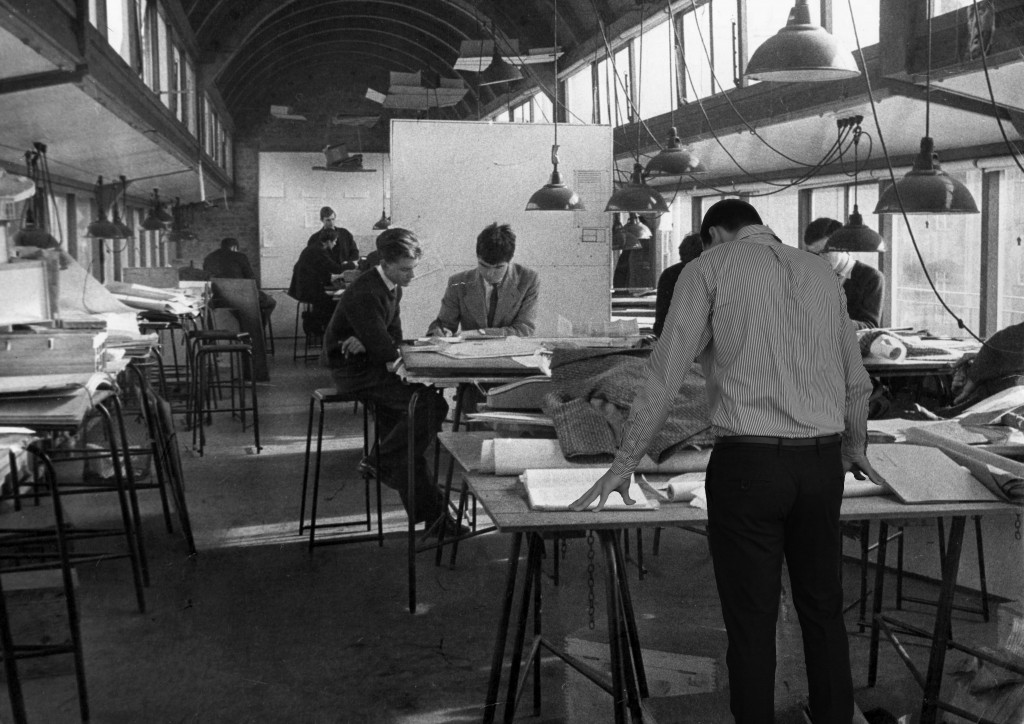1954. Preparing for the Jury, Working on the isometric drawing.