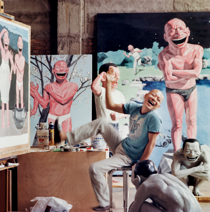 Yue-Minjun-in-his-Studio-Beijing-by-Jonathan-Becker